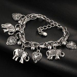 Jewelry - Silver elephant heart charm bracelet